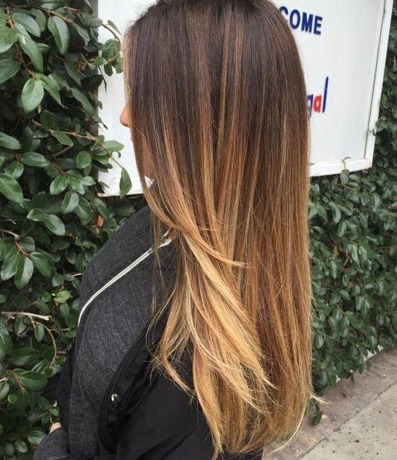 Омбре на темно-русые волосы