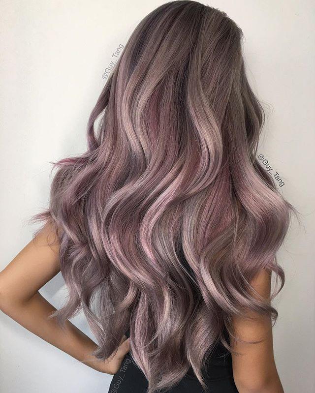 Пепельно-розовое окрашивание волос