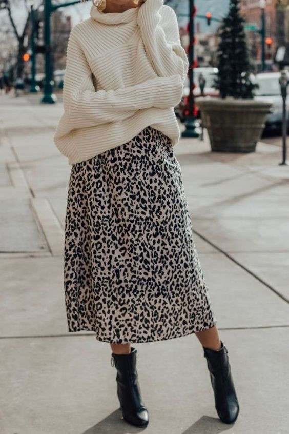 Как носить юбку с леопардовым принтом