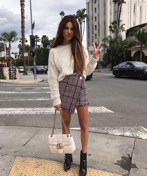 Как носить твидовую юбку идеи