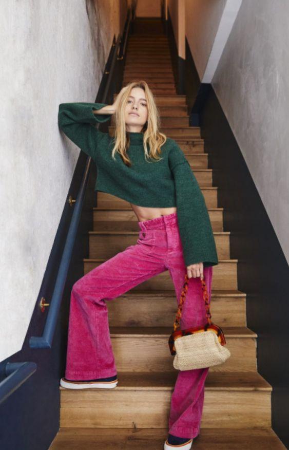 Розовые брюки из вельвета