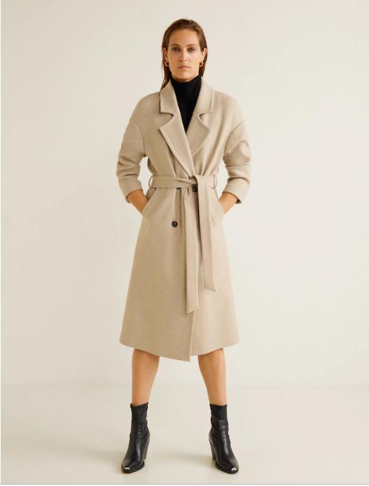 манго пальто с поясом