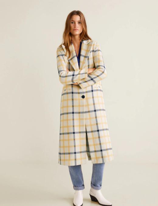 пальто в клетку манго
