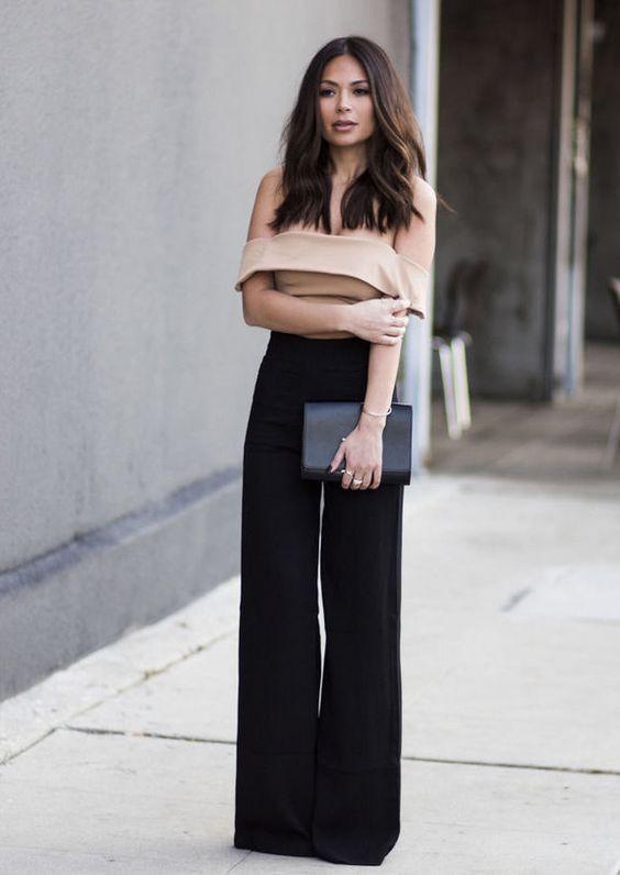 Нарядный образ с широкими брюками