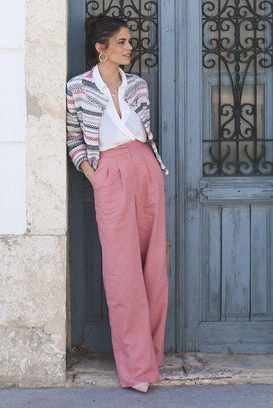 Льняные брюки палаццо