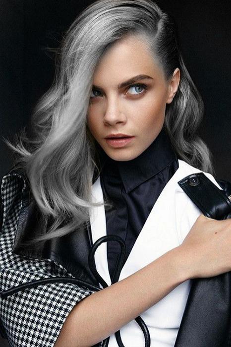 Кара Делевинь седые волосы
