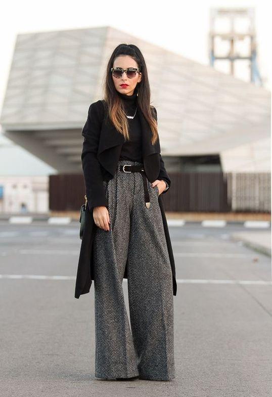 Теплые брюки палаццо