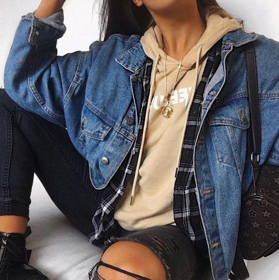 Многослойный весенний образ с джинсовой курткой