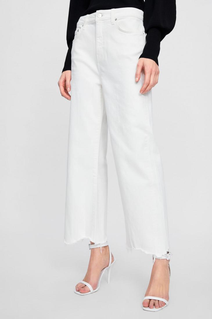 Белые джинсы-кюлоты с завышенной талией Zara