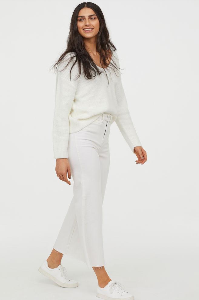 Белые кюлоты из денима H&M