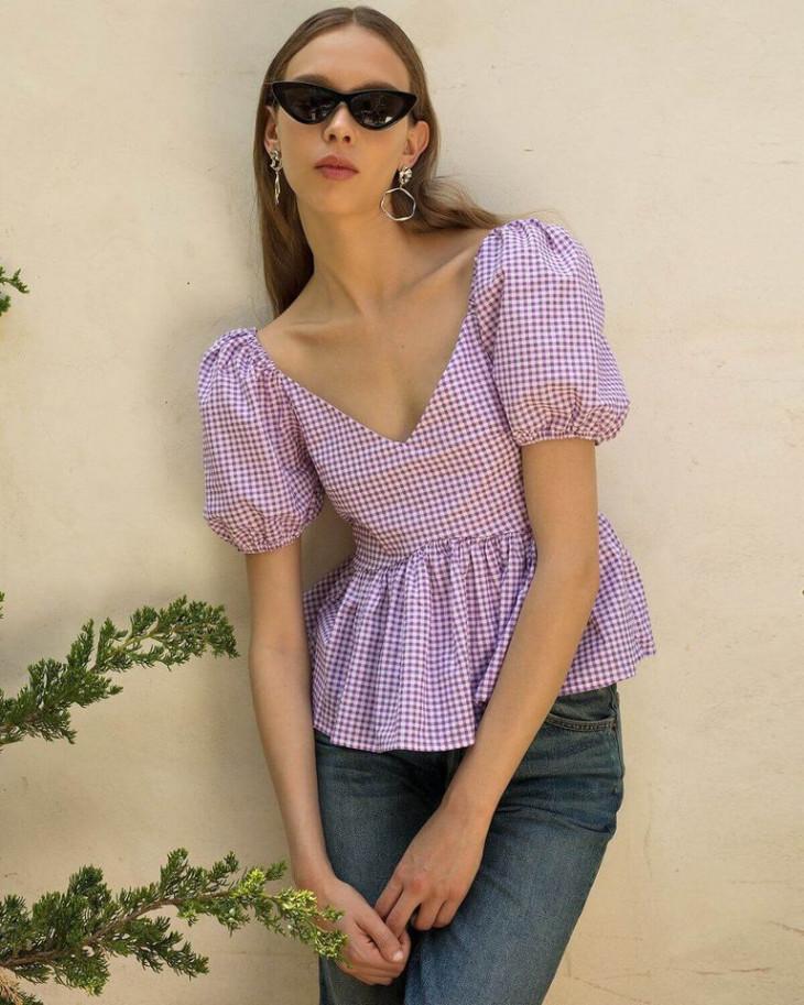 Лавандовая блуза