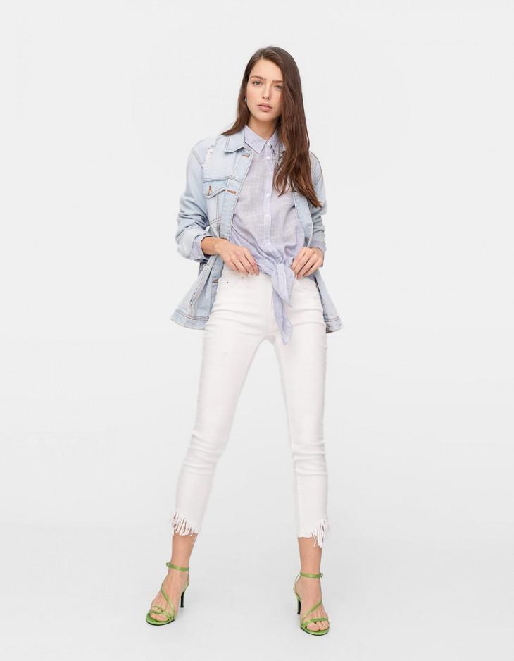 Белые джинсы skinny Stradivarius