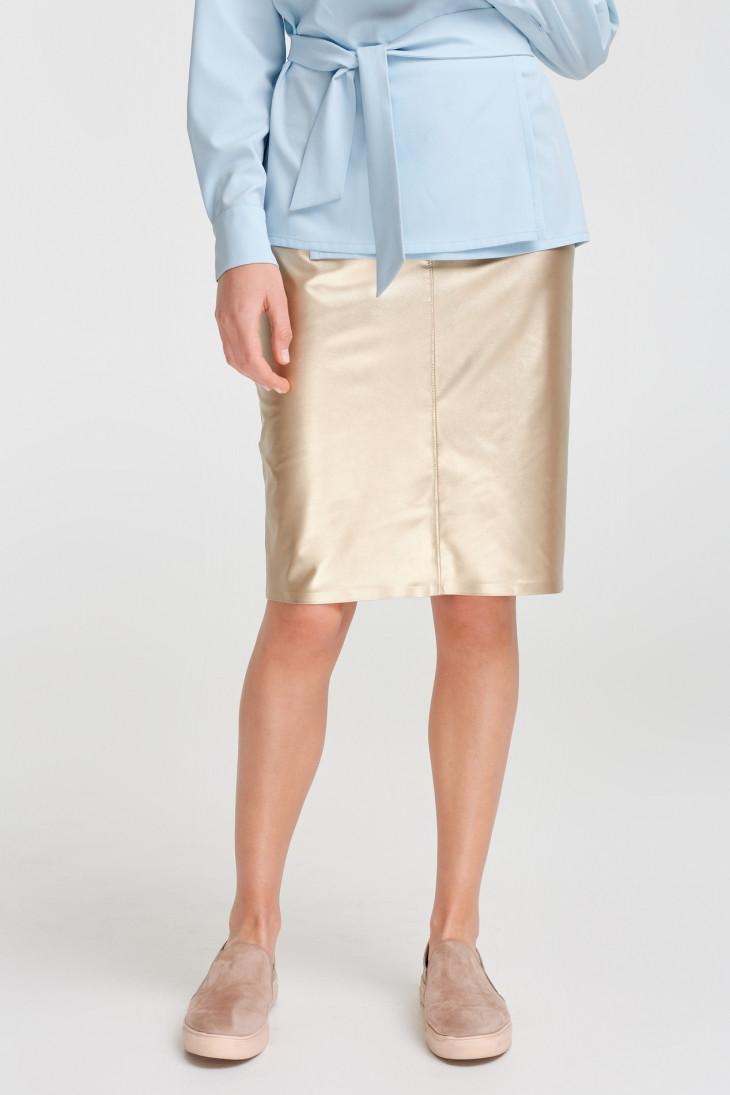 Металлическая юбка-карандаш из эко-кожи от VOVK