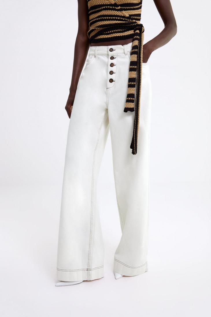 Белые широкие джинсы с высокой посадкой Zara
