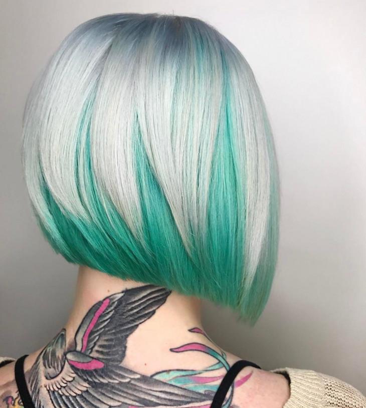 яркое окрашивание на короткие волосы