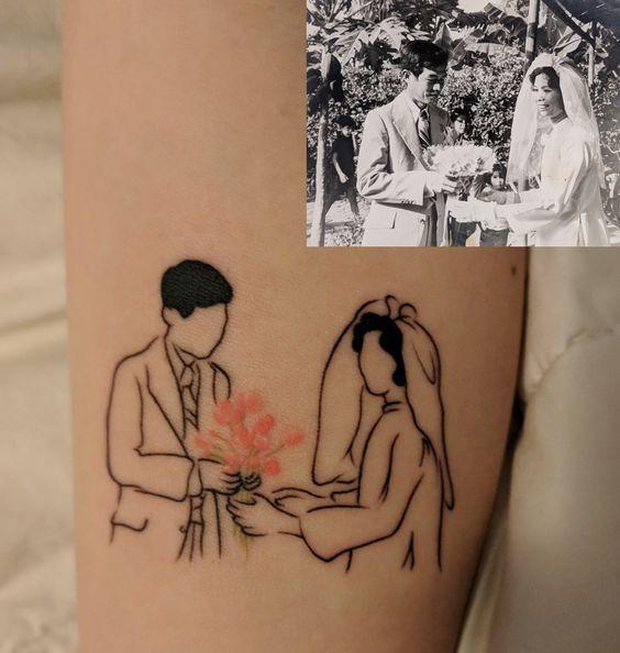 Цветная контурная тату для девушек по фото