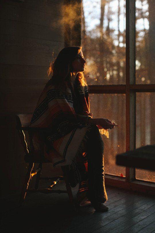 девушка и закат