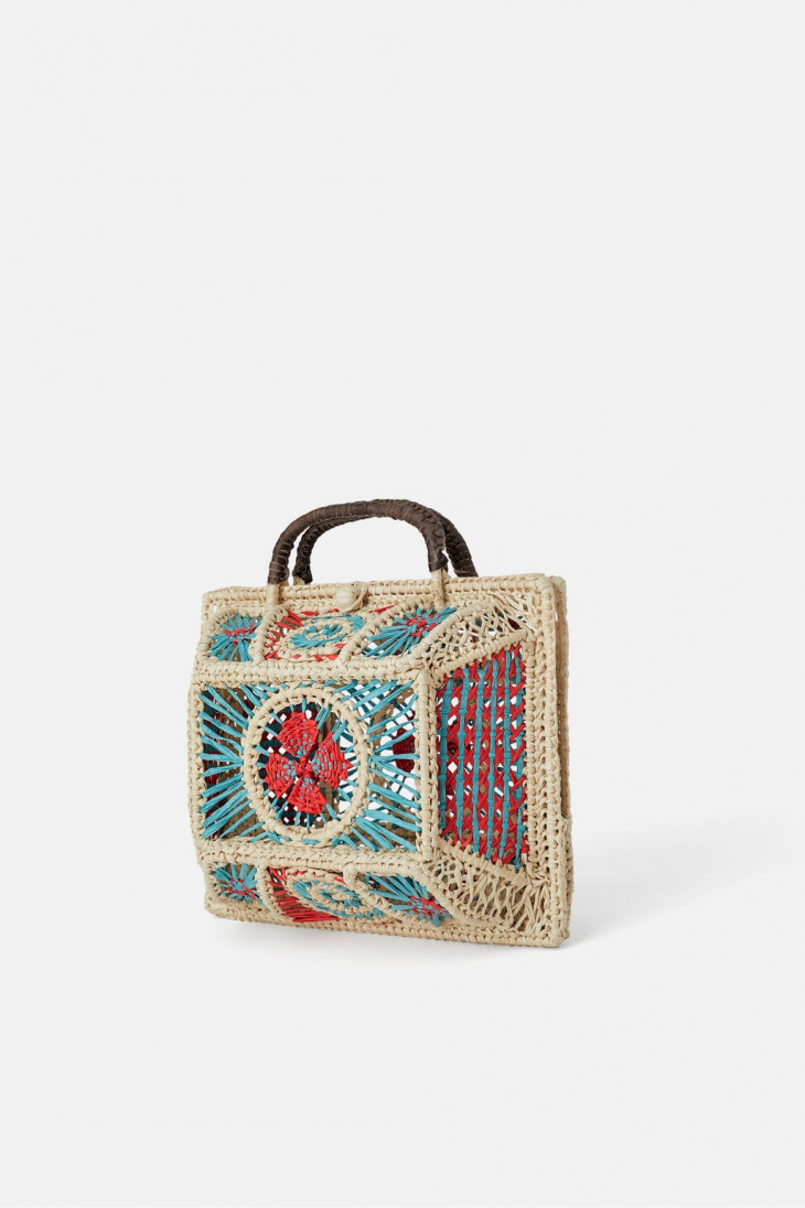 плетенная сумка zara