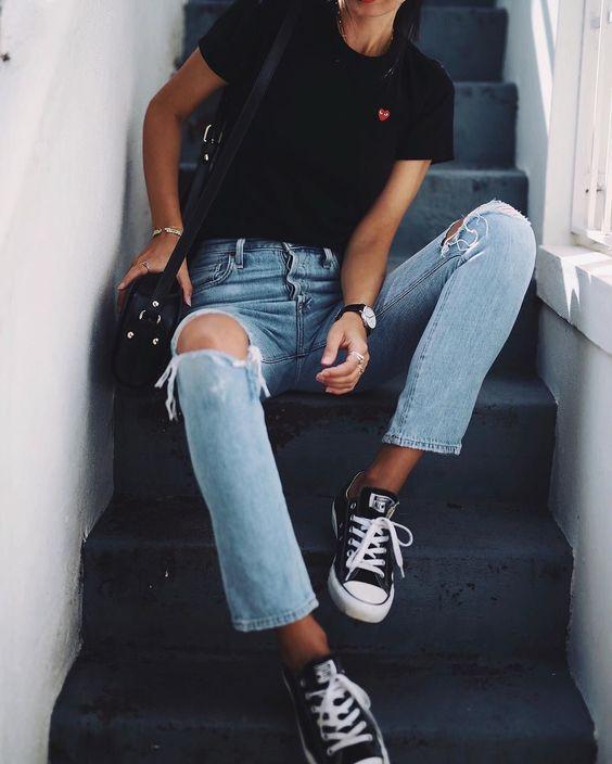 черные кеды под джинсы
