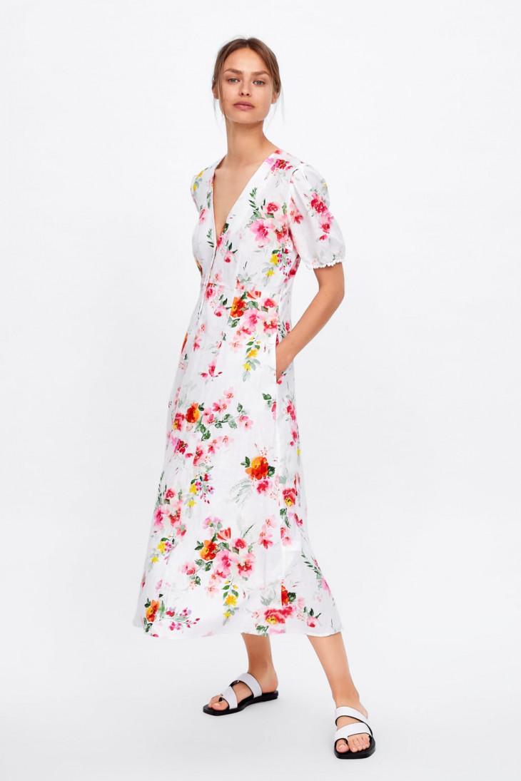 цветочное платье zara