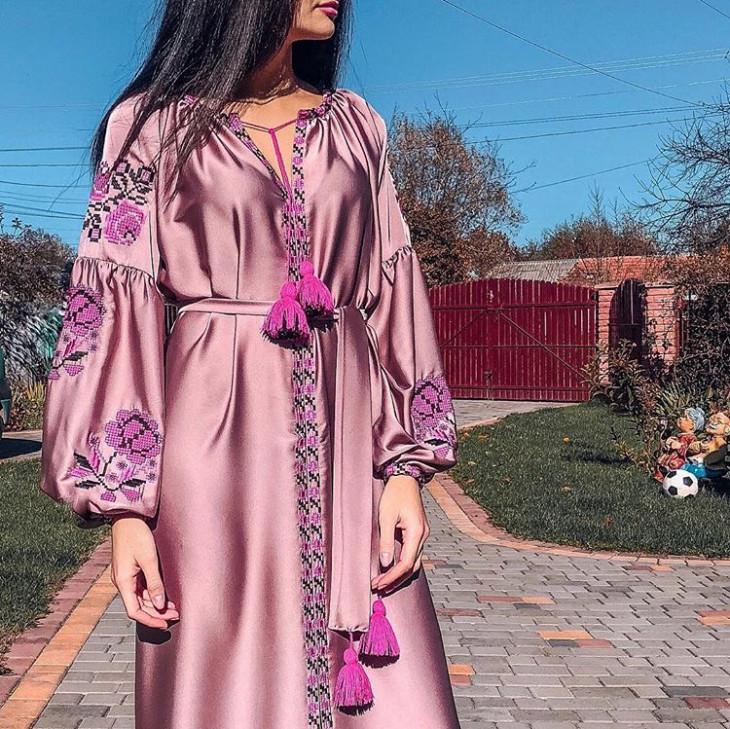 Шелковое платье вышиванка ETNOLOOK