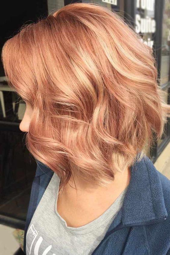 клубничный блонд на короткие волосы