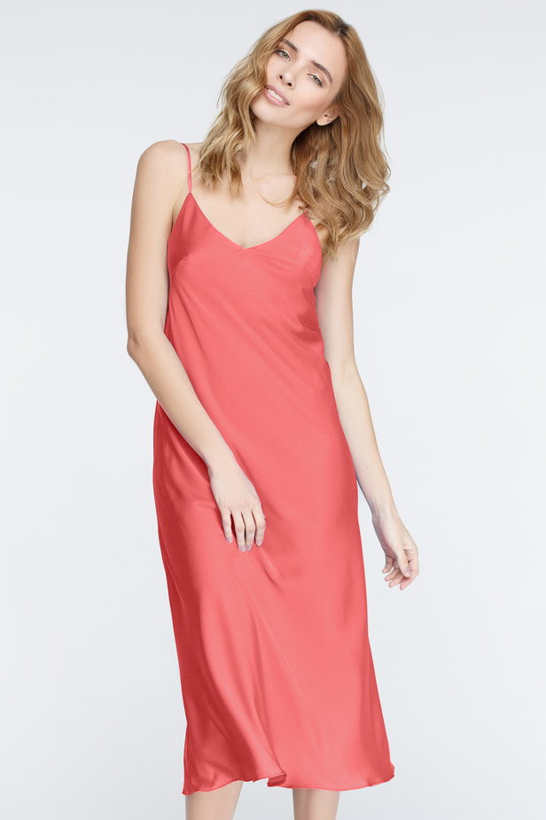 Платье-комбинация в коралловом цвете MustHave