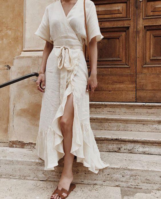 льняное платье лето