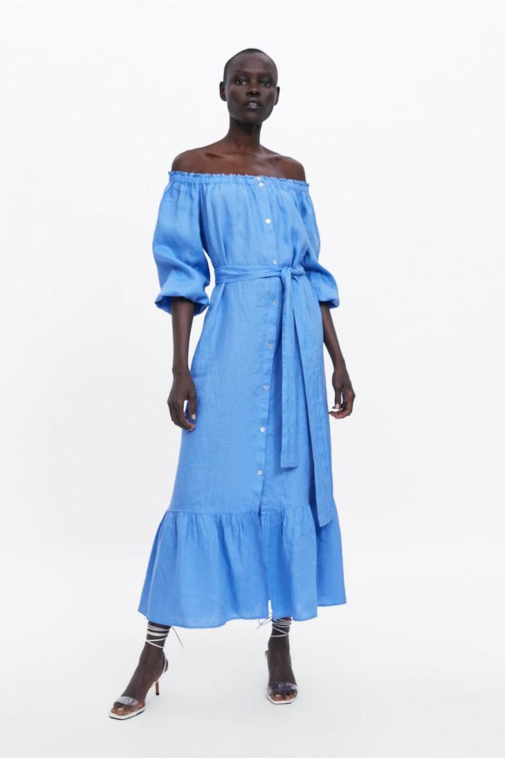 zara платье голубое