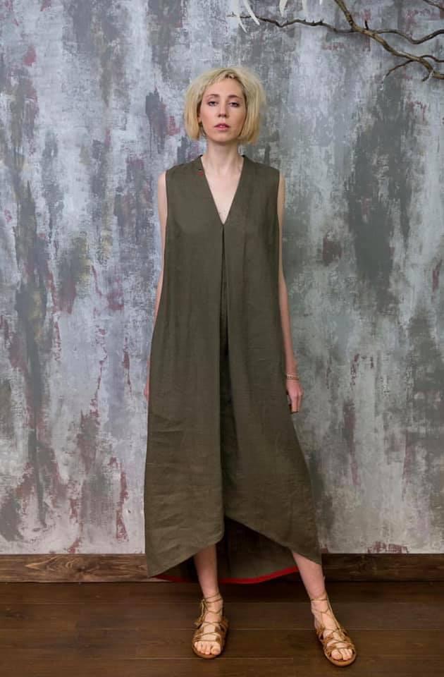 Pin Pin льняное платье лето 2019