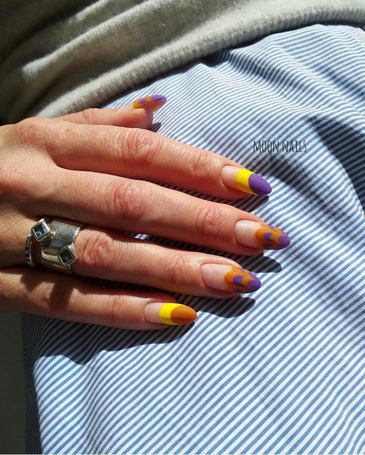 Фиолетово-желтый маникюр