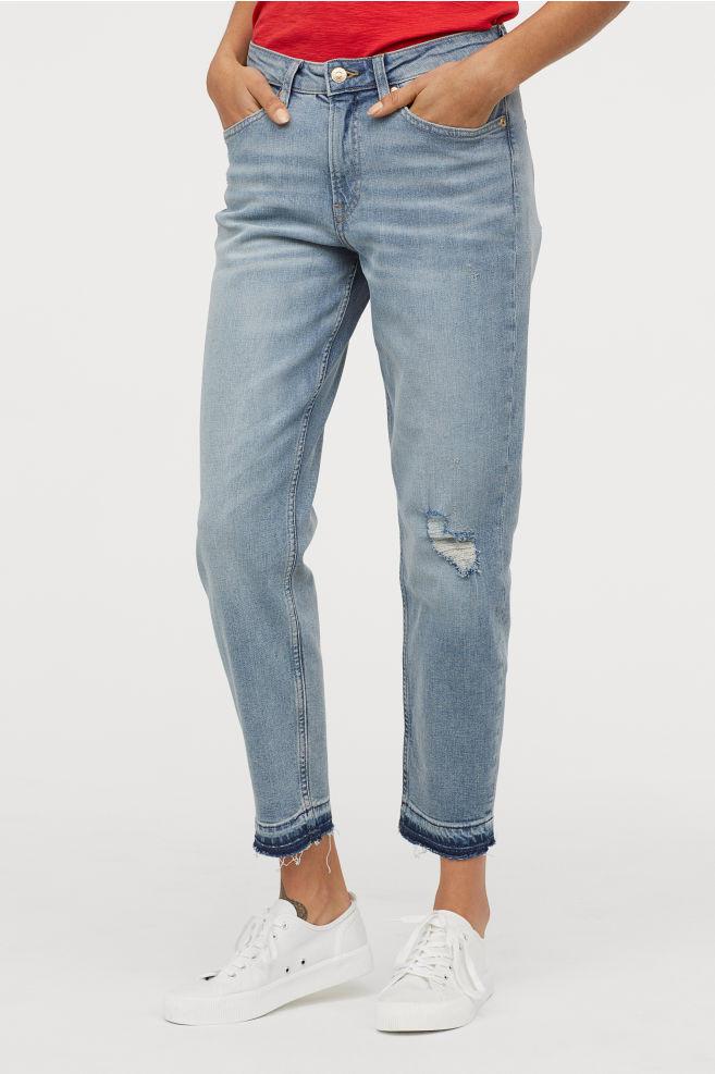 Голубые джинсы из стираного денима H&M