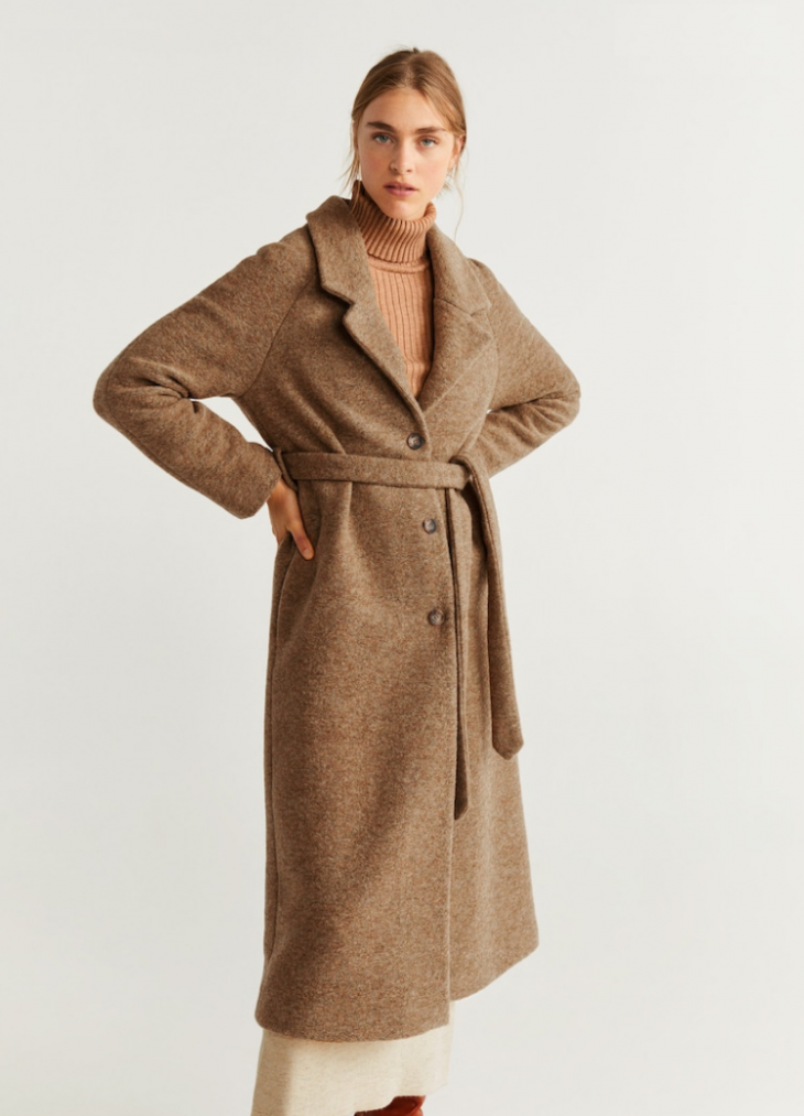 Полушерстяное пальто с поясом Mango