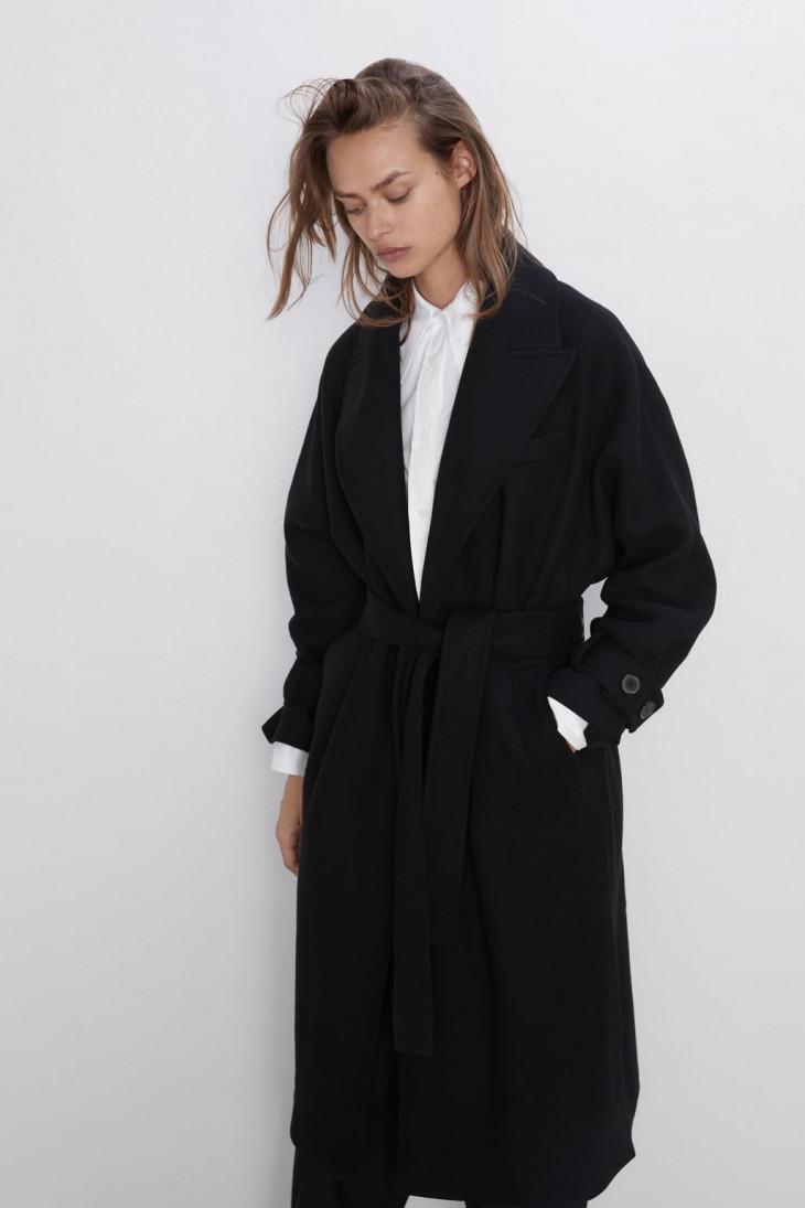 Классическое черное пальто Zara