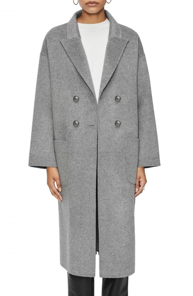 Серое шерстяное пальто ANINE BING