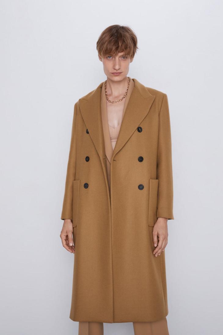 Удлиненное пальто с карманами Zara