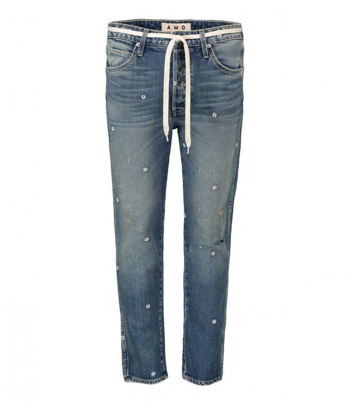 Amo Прямые джинсы с мелкой вышивкой