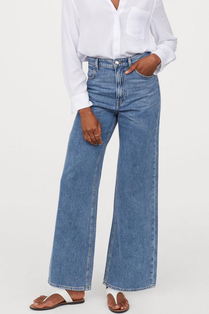 H&M Широкие джинсы из стираного денима с высокой талией