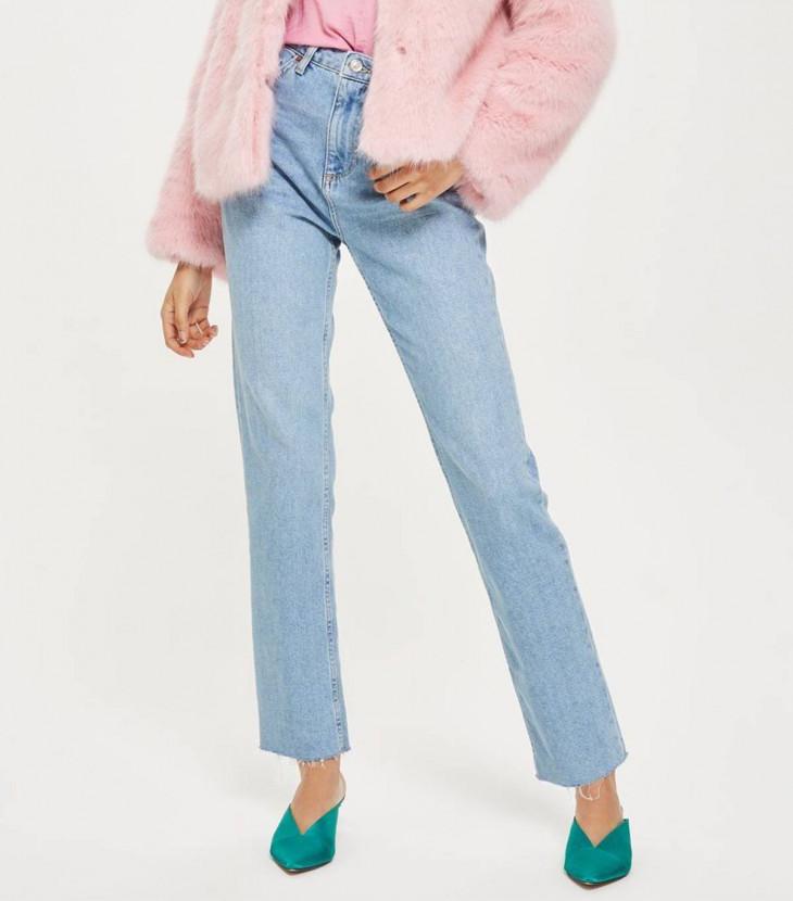 Topshop Прямые джинсы с необработанным низом