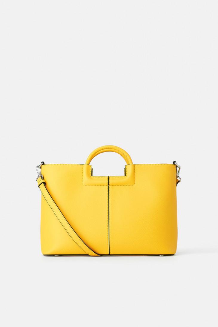 Желтая сумка с плетеными ручками Zara