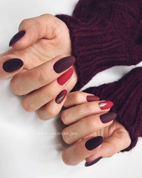 Матовые бордовые ногти