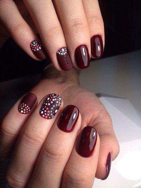 Темный маникюр на бордовые ногти
