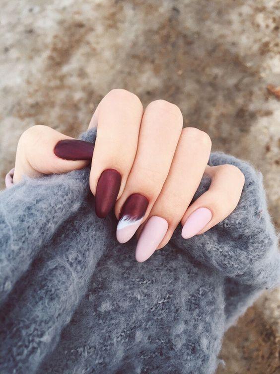 Маникюр бордо на острые ногти