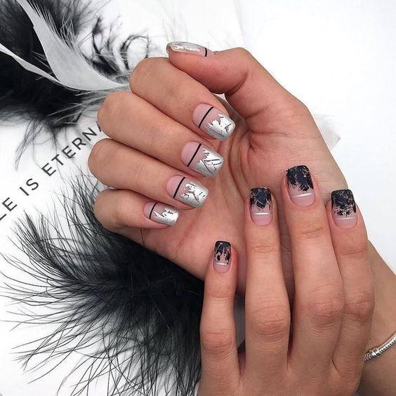 стильный маникюр на квадратные ногти