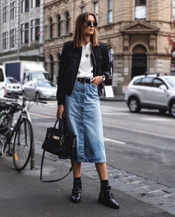 Как носить джинсовую юбку миди