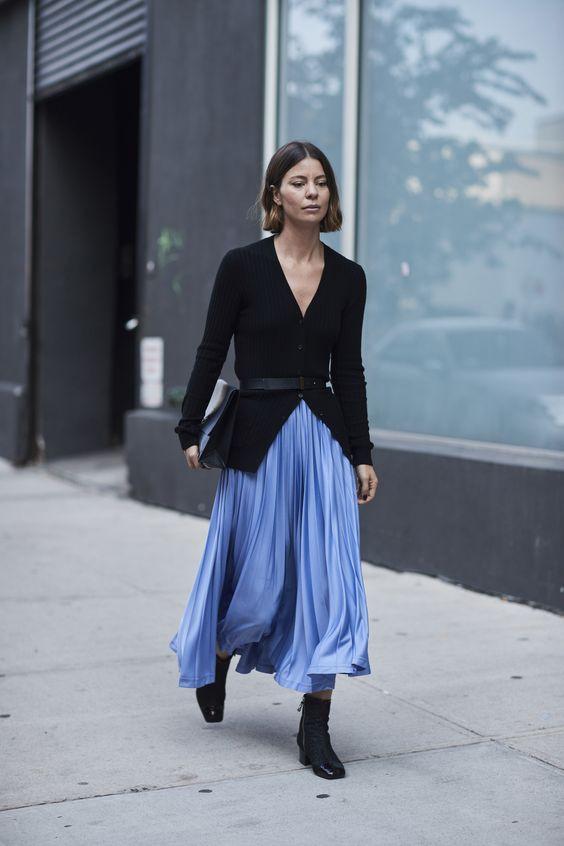 Как носить юбку плиссе