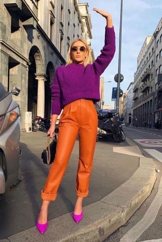 Как носить оранжевый осенью