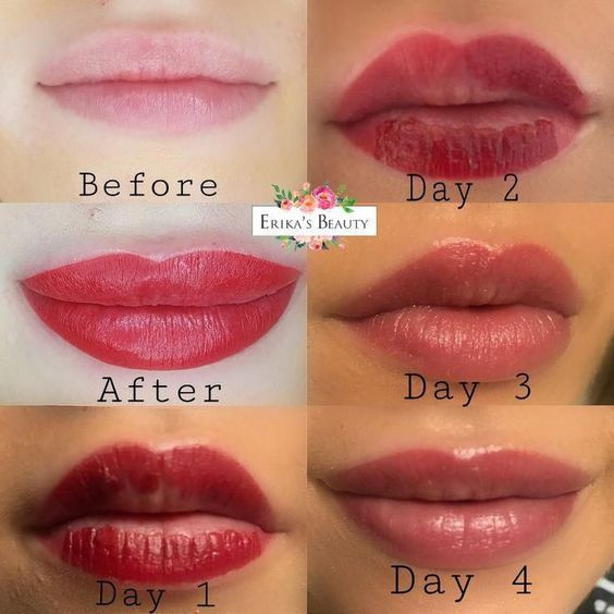 Татуаж губ– до и после