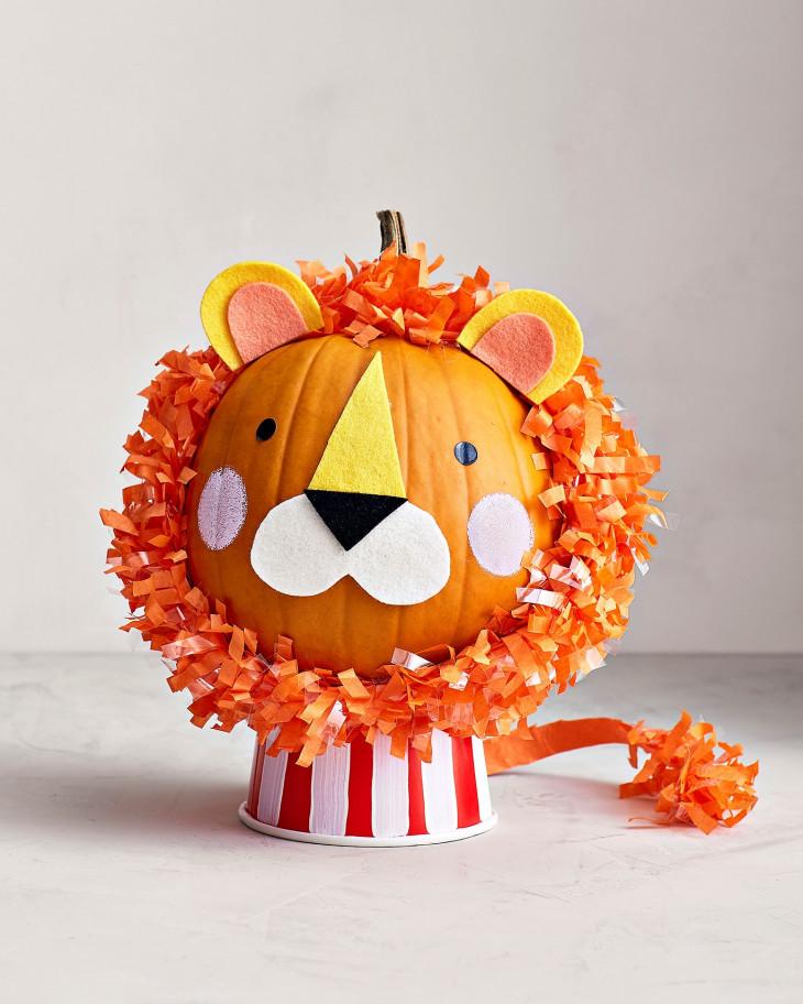 тыква на хэллоуин в виде льва